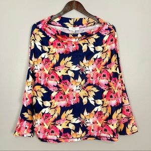 Umgee Floral Cowl Neck Top Dolman Sleeves Stretch